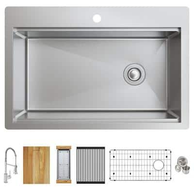 Crosstown Stainless Steel 33 in. Single Bowl Dual Mount Kitchen Sink with Workstation Kit