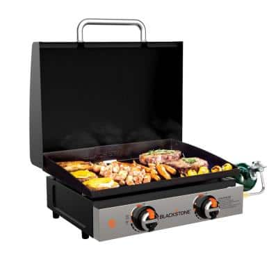 22 in. 2 Burner and Stainless Steel with Hood Tabletop Griddle in Black