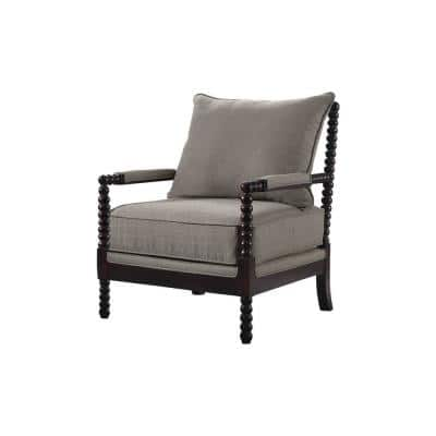 Abraham Espresso Taupe Accent Chair