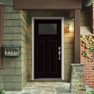 32 in. x 80 in. 1 Lite Craftsman Black w/White Interior Steel Prehung Left-Hand Inswing Front Door w/Brickmould