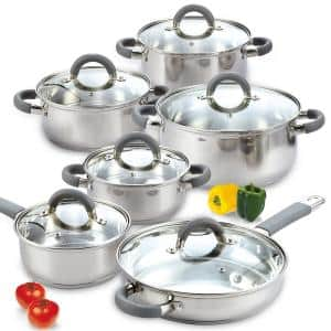 12-Piece Stainless Steel Cookware Set in Gray and Stainless Steel