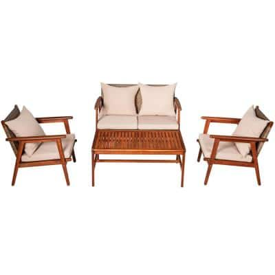 4-Piece Wood and Wicker with Cushion Lawn Chair