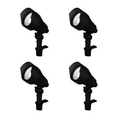9.8-Watt Millennium Black Adjustable Light Color Outdoor Integrated LED Landscape Flood Light (4-Pack)