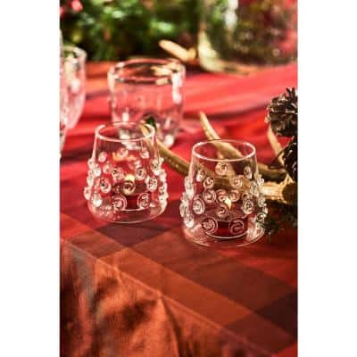 Clear Votive with Glass-Applied Swirls (Set of 4)