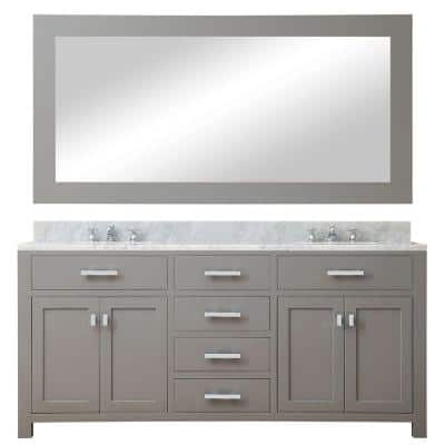 72 in. W x 21 in. D Vanity in Cashmere Grey with Marble Vanity Top in Carrara White and Mirror