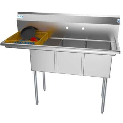 51 in. Freestanding Stainless Steel 3 Compartments Commercial Sink with Drainboard