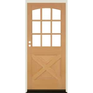 Krosswood Doors 36 In X 80 In Farmhouse X Panel Lh 1 2 Lite Clear Glass Unfinished Douglas Fir Prehung Front Door Phed Df 559xa 30 68 134 Lh 512 The Home Depot