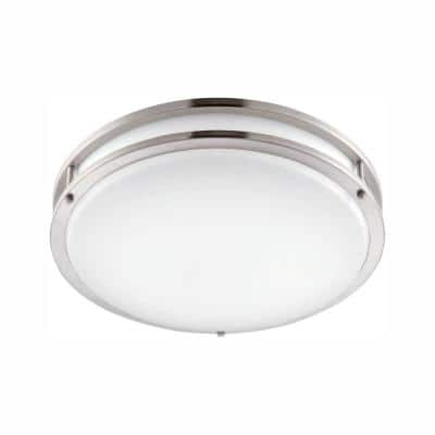 12 in. Brushed Nickel Integrated LED Selectable CCT Round Flush Mount Light