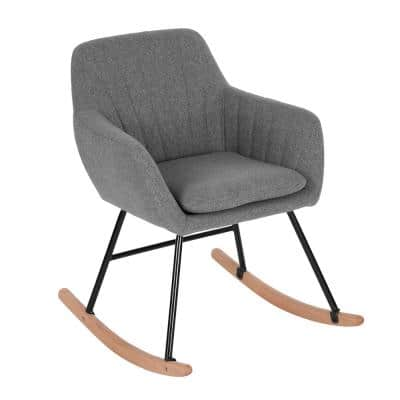 Grey Switch Rocking Leisure Chair with Cushion Rock Roll Textured Fabric