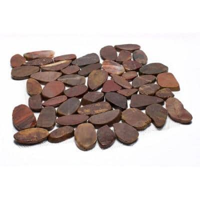 12 in. x 12 in. Red Sliced High-Polish Pebble Stone Floor and Wall Tile (5.0 sq. ft. / case)