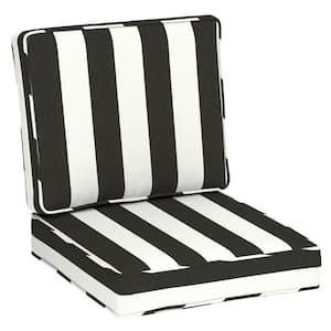 24 in. x 20 in. Sunbrella Premium Foam Firm 2-Piece Deep Seating Outdoor Lounge Chair Cushion in Cabana Classic