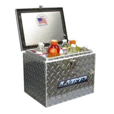 14 in Diamond Plate Aluminum Full Size Chest Truck Tool Box with lockable latch, Silver