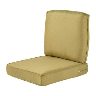 Spring Haven 23.5 in. x 26.5 in. 2-Piece Outdoor Lounge Chair Cushion in Standard Green