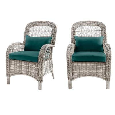 Beacon Park Gray Wicker Outdoor Patio Captain Dining Chair with CushionGuard Malachite Green Cushions (2-Pack)