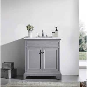 Elite Stamford 36 in. W x 23.5 in. D x 36 in. H Vanity in Gray with Carrera Marble Top in White with White Basin