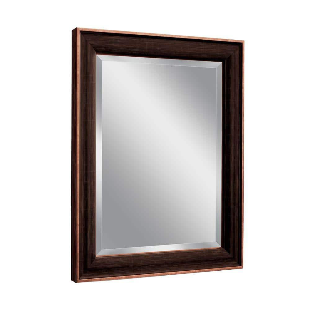 Deco Mirror 28 In W X 34 In H Framed Rectangular Beveled Edge Bathroom Vanity Mirror In Bronze Copper 8952 The Home Depot