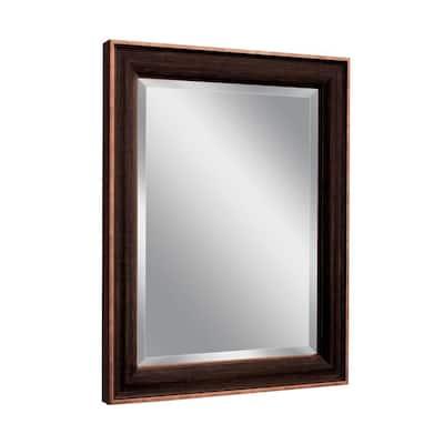 28 in. W x 34 in. H Framed Rectangular Beveled Edge Bathroom Vanity Mirror in Bronze/Copper