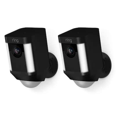 Spotlight Cam Battery Outdoor Rectangle Security Wireless Standard Surveillance Camera in Black (2-Pack)