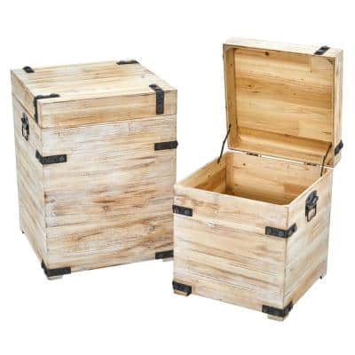 Decorative White Wash Wood Storage Boxes and Trunks with Metal Detail (Set of 2)
