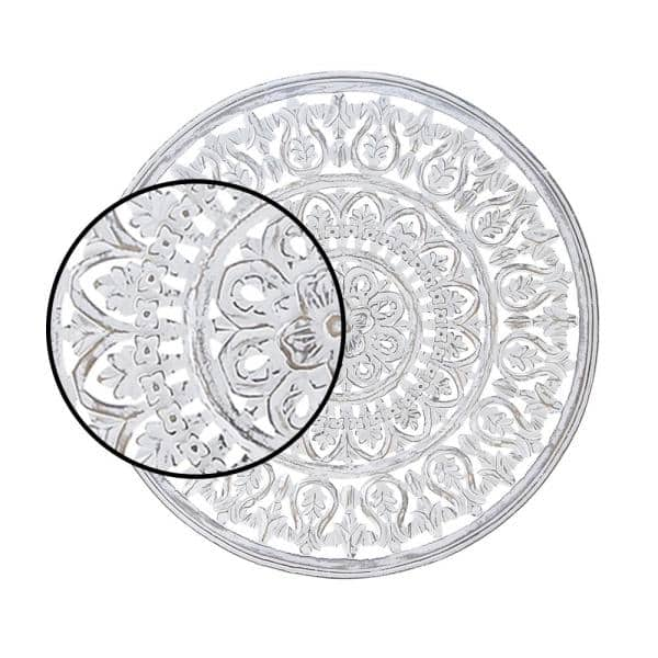 Litton Lane 36 In X 36 In Round White Carved Mandala Wooden Wall Art 66187 The Home Depot