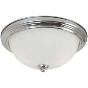 Geary 12.5 in. 2-Light Chrome Ceiling Flush Mount with Satin Etched Glass