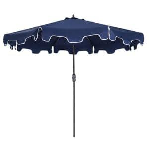 8.86 ft. Steel Outdoor Beach Market Umbrella with Tilt Function Portable in Blue, without Base