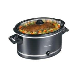 8 Qt. Black Slow Cooker with Temperature Settings and Glass Lid