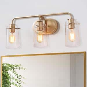 Modern Gold Bathroom Vanity Light Muris 3-Light Indoor Wall Sconce Bath Bar Vanity Light with Clear Seeded Glass Shades
