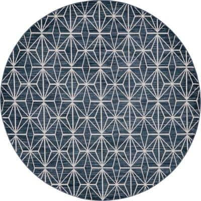 Uptown Collection Fifth Avenue Navy Blue 8' 0 x 8' 0 Round Rug
