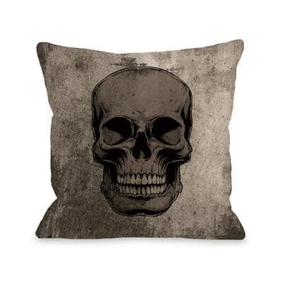 Skull Grunge Gray Graphic Polyester 16 in. x 16 in. Throw Pillow