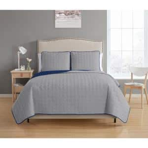 Bethany Reversible 3-piece Grey/Navy King Quilt Set
