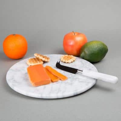 12 in. Off-White Natural Marble Round Board Cheese Serving Plate, Dessert Cake Service Board