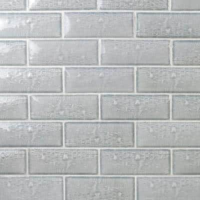 Dallas Pillowed Leather Light Blue 3 in.x8 in.12mm Polished Crackled Ceramic Subway Wall Tile (20-Piece/3.27 sq.ft./Box)