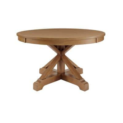 Aberwood Patina Oak Finish Wood Round Dining Table for 4 (54 in. L x 30 in. H)
