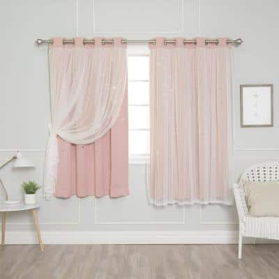 63 in. L Dusty Pink Tulle Overlay Star Cut Out Blackout Curtain Panel (2-Pack)