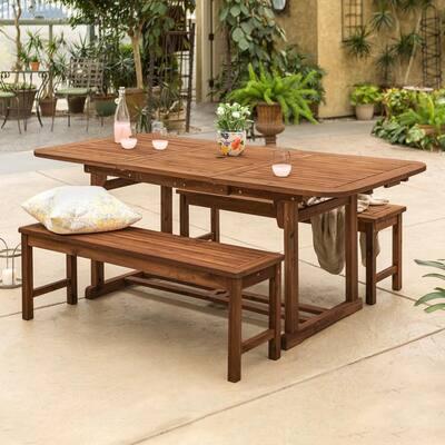Dark Brown 3-Piece Acacia Wood Outdoor Patio Dining Set