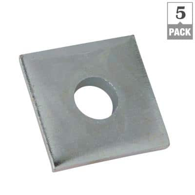 3/8 in. Square Strut Washer Silver Galvanized (5-Pack)