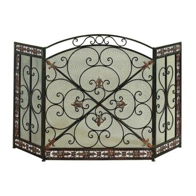 Bronze Leaves and Beads Metal 3-Panel Fireplace Screen