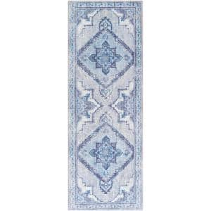 Canace Ice Blue 2 ft. 6 in. x 7 ft. 6 in. Runner Area Rug