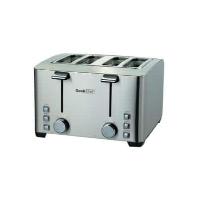 1500 W 4-Slice Silver Wide Slot Toaster with 6 Bread Shade Settings and Removable Crumb Tray