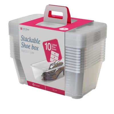 5.7 l Shoe and Closet Storage Box Stacking Container in Clear (30-Pack)