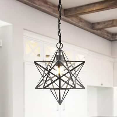 Stella 1-Ligth Oil Rubbed Bronze Moravian Star Metal/Glass LED Pendant