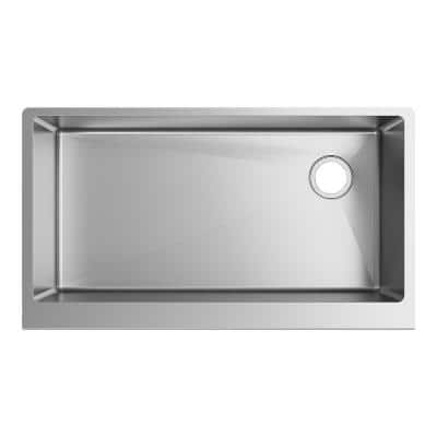 Crosstown 16-Gauge Stainless Steel 35-7/8 in. Single Bowl Tall Farmhouse Apron Kitchen Sink