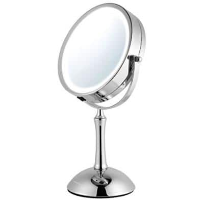 Small Round Polished Chrome Lighted Tilting Vanity Mirror (12.91 in. H x 4.88 in. W), 1x or 8x Magnification