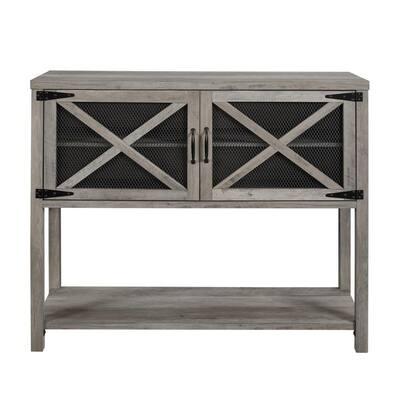 44 in. Grey Wash Mesh Door Industrial Buffet Sideboard