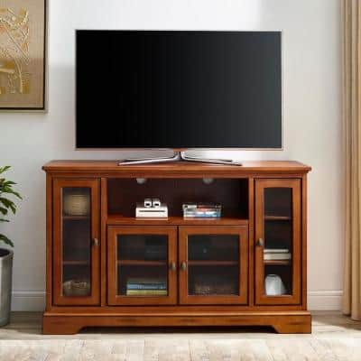 Highboy 52 in. Rustic Brown Composite TV Stand 55 in. with Glass Doors