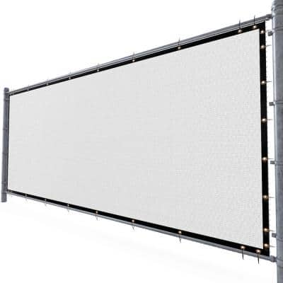 3 ft. H x 10 ft. W White Fence Outdoor Privacy Screen with Black Edge Bindings and Grommets