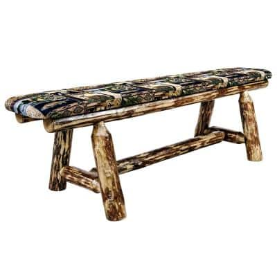 Glacier Country Collection 18 in. H Brown Wooden Bench with Woodland Pattern Upholstered Seat, 5 ft. Length