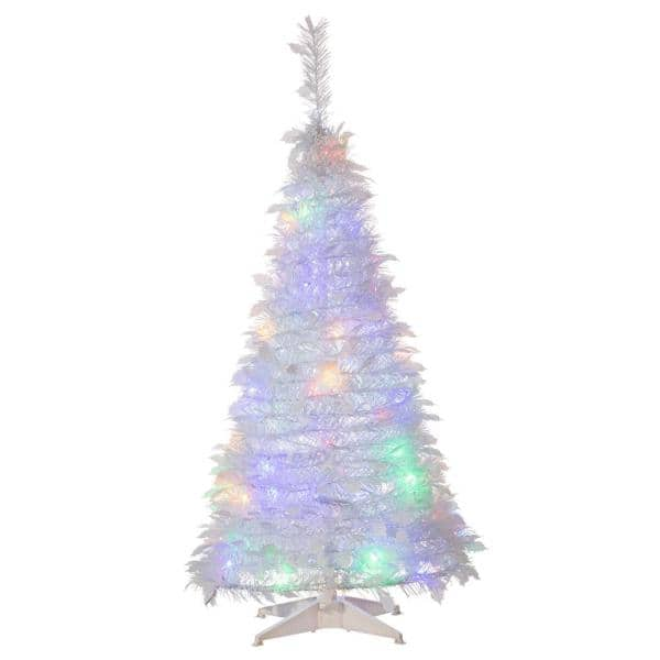 Sterling Tree Company 4 Ft Artificial Pop Up Led White Pine Tree 6461 40mlww The Home Depot