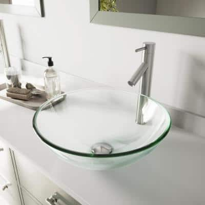 Glass Round Vessel Bathroom Sink in Iridescent with Dior Faucet and Pop-Up Drain in Brushed Nickel